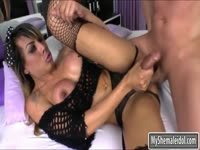 Well-endowed blazing hot transsexual moans as she screwed deep in her ass by hung hunk