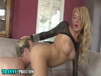 Fitness minded never before seen transsexual whore gets her sweet dick wet in dudes asshole