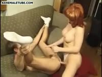 Dirty redhead mature transsexual skank entices younger man to suck her cock and take anal