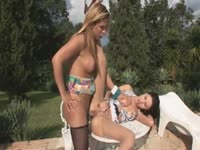 Pleasing hardcore shemale xxx scene filmed outdoor features brunette college girl fucked by big tranny