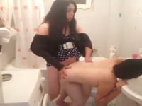 Excellent bent over sex vid features brunette shemale screwing girl at a party in the bathroom
