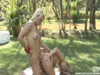 Frisky shemale and her long legged all natural college-aged friend enjoy hardcore fucking in the park