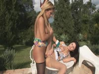 Tranny and hot girl fucking poolside outdoors