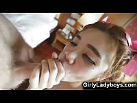 Teenage Ladyboy Sucks a Tourist!